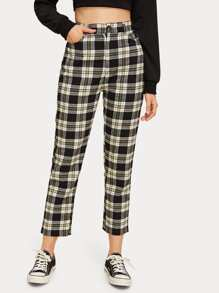 Tartan High Rise Straight Leg Pants