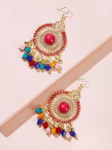 Hollow Out Round Beaded Tassel Drop Earrings 1pair