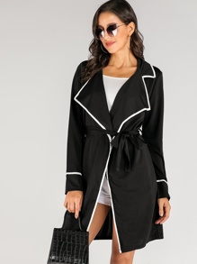 Contrast Trim Waterfall Collar Belted Coat