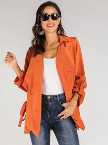 Neon Orange Waterfall Collar Double Button Belted Coat