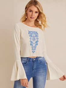 Embroidered Flounce Sleeve Round Neck Blouse
