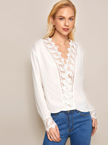 Lace Trim Hollow Out Blouse