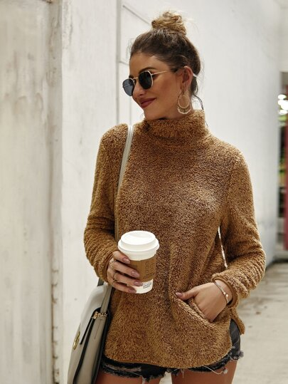High Neck Slit Side Teddy Sweatshirt