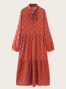 Tie Neck Polka Dot Print Shirt Dress