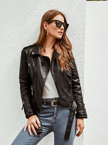 PU Zip Up Belted Biker Jacket
