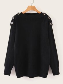 Solid Boat Neck Button Detail Jumper