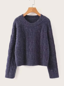 Solid Raglan Sleeve Round Neck Jumper