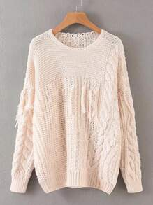 Solid Chunky Cable Knit Fringe Detail Sweater