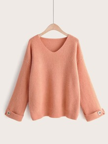 Button Detail V-Neck Solid Sweater