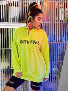 Neon Green Letter Graphic Drawstring Hoodie