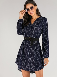 Notched Neck Polka Dot High Low Dress Without Belted