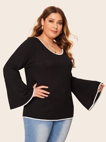 Plus Contrast Binding Bell Sleeve Jumper