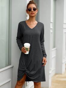 Solid Twist Hem Tee Dress