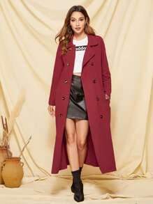 Double Button Pocket Side Trench Coat