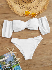 Twist Bardot Top With Cheeky Bikini Set