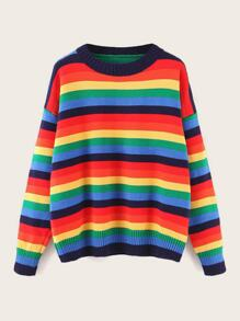 Drop Shoulder Rainbow Striped Sweater