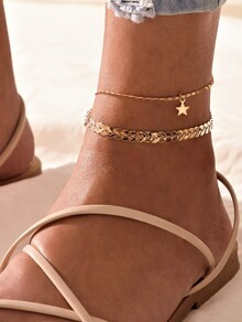 Star Charm Arrow Chain Layered Anklet 1pc