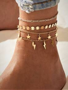 Star & Lightning Bolt Charm Anklet 4pcs
