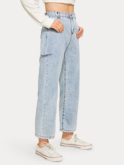 Solid Ripped High Rise Straight Leg Jeans