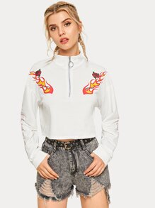 Fire And Rose Print Half Zip Sweatshirt