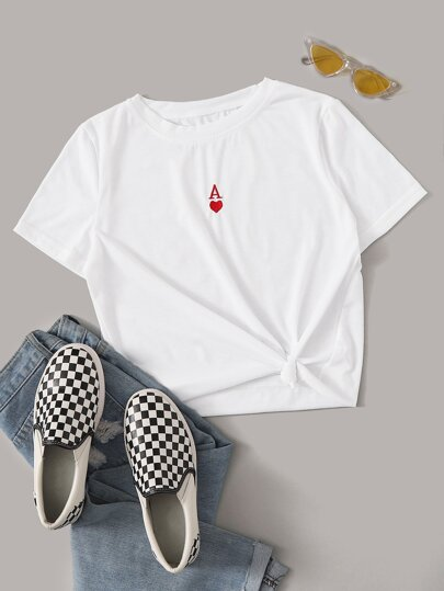 Poker Card Embroidery Short Sleeve Tee