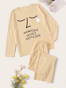 Abstract Face & Letter Print Pajama Set
