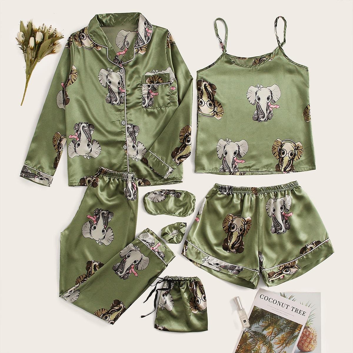 Атласная пижама с принтом