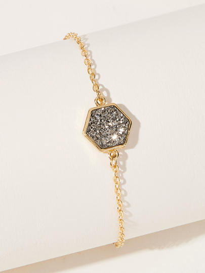 Rhinestone Engraved Hexagon Decor Chain Bracelet 1pc