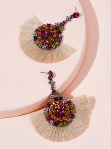 Rhinestone Decor Fan Tassel Drop Earrings 1pair