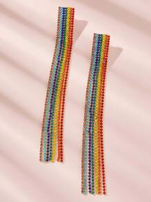Rainbow Striped Rhinestone Engraved Tassel Drop Earrings 1pair