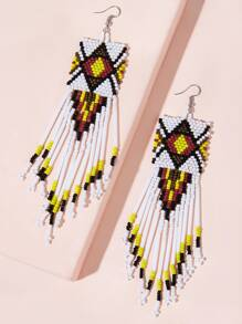 Beaded Tassel Drop Earrings 1pair