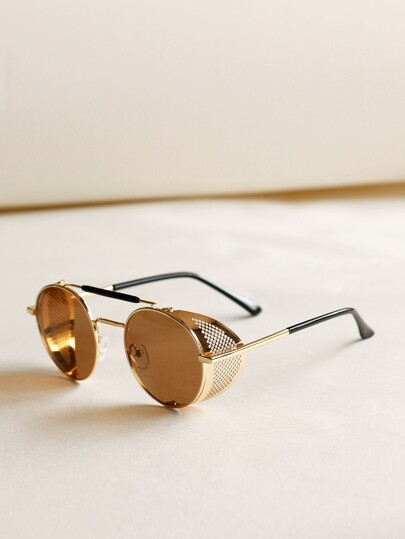 Top Bar Round Frame Sunglasses With Case
