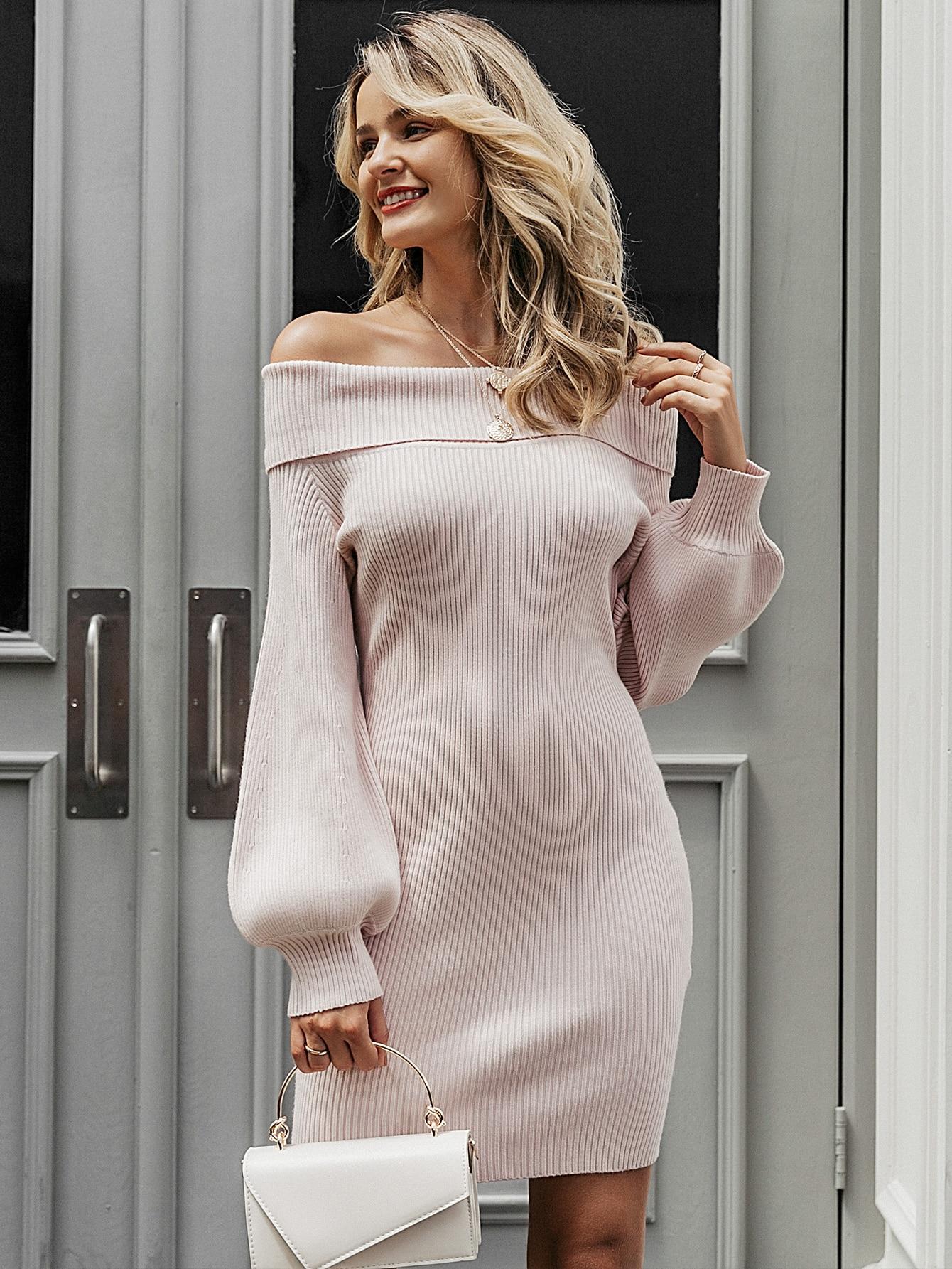 Lantern Sleeve Rib-knit Bardot Sweater Dress thumbnail