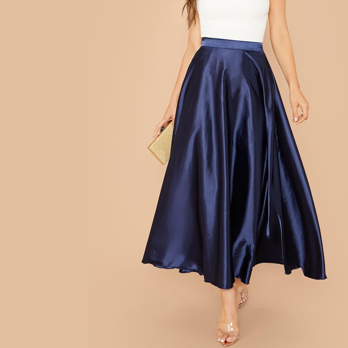 Однотонная атласная юбка