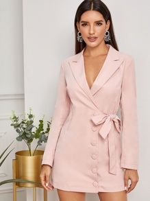 Button Through Tie Side Wrap Blazer Dress