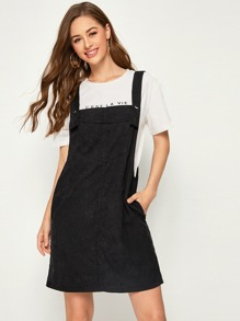 Pocket Front Corduroy Pinafore Dress