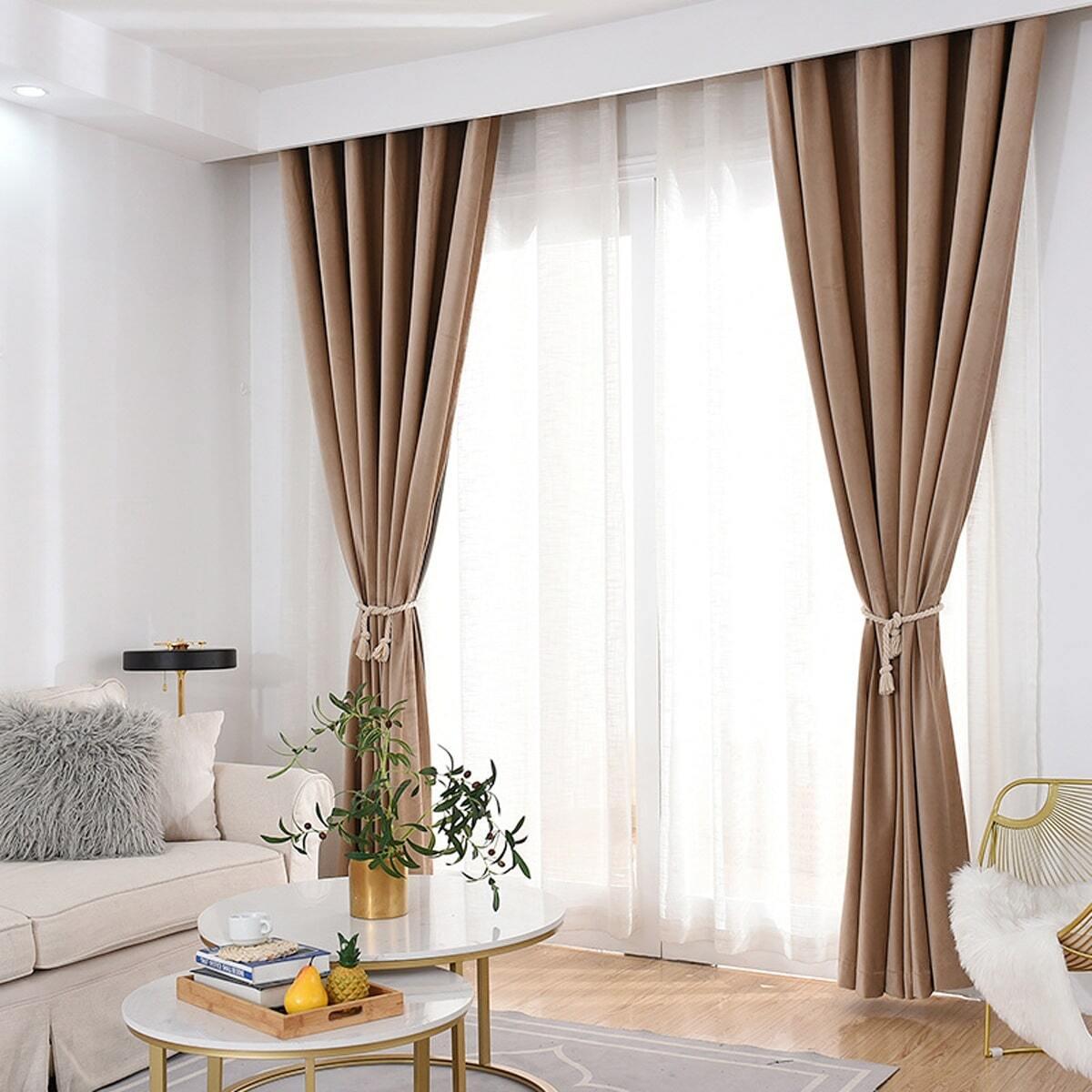 Einfarbiger einfacher Vorhang 1 Stück
