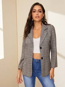 Lapel Collar Button Through Plaid Blazer