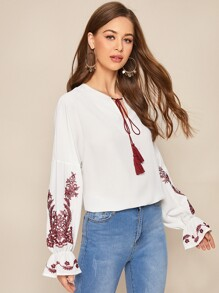 Floral Embroidery Tassel Tie Peasant Blouse