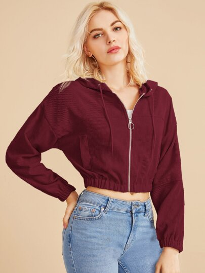 O-ring Zip Front Hooded Crop Corduroy Jacket
