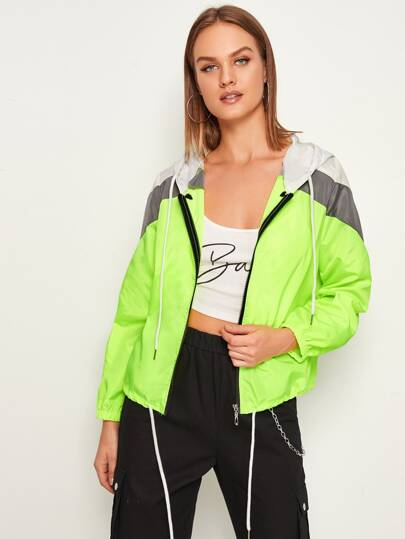 Neon Lime Contrast Panel Drawstring Windbreaker Jacket