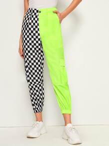 Two Tone Checkered Windbreaker Pants
