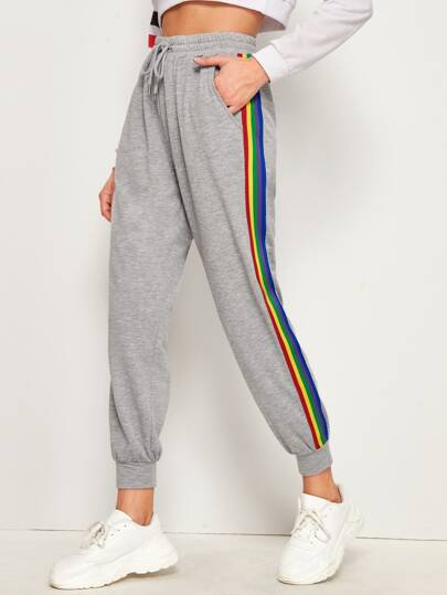 Rainbow Striped Side Drawstring Waist Sweatpants