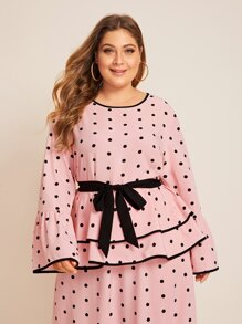 Plus Polka Dot Piping Trim Layered Ruffle Blouse