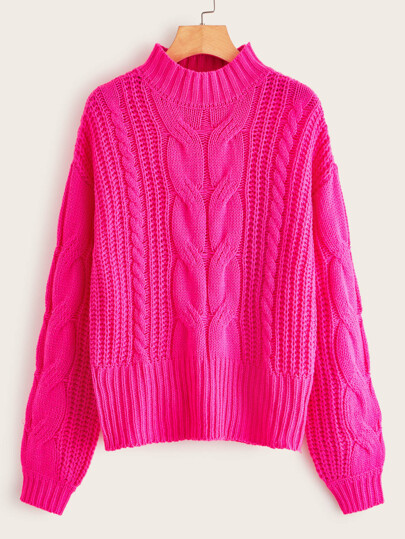 Neon Pink Drop Shoulder Cable Knit Sweater