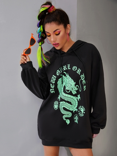 Dragon & Letter Print Drawstring Hooded Sweatshirt Dress