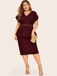 Plus Split Back Flutter Sleeve Peplum Dress