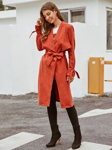 Waterfall Collar Tie Sleeve Belted Trench Coat