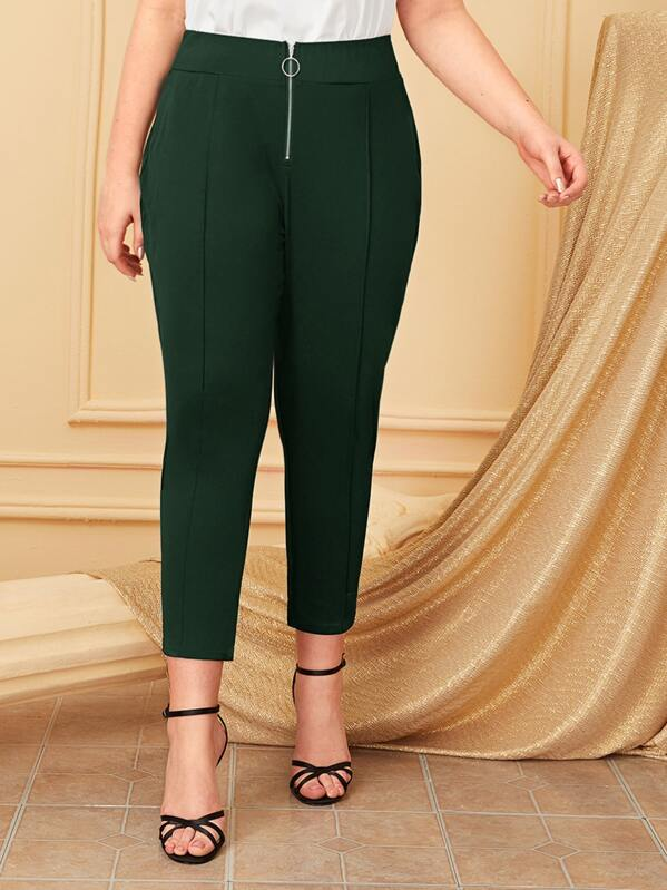 Plus O Ring Zip Plicated Tapered Pants by Sheinside