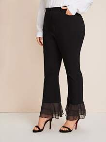 Plus Mesh Trim Flare Leg Pants